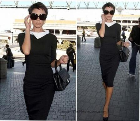 Черное платье с белым воротником