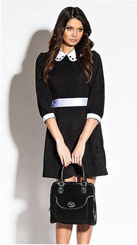 С чем носить черные платья с белым воротником